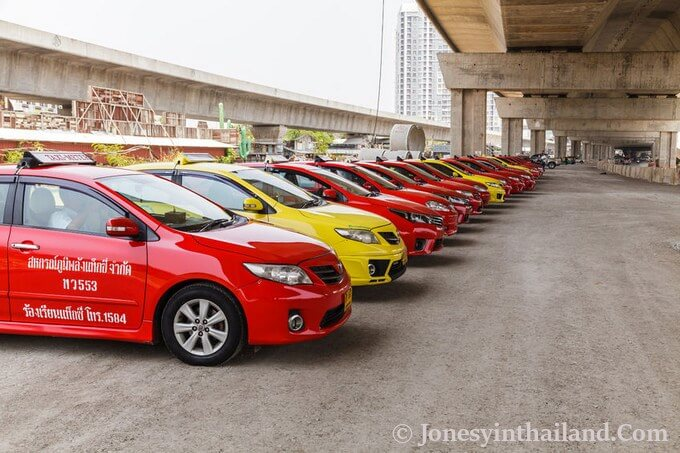 row of taxis in Thailand